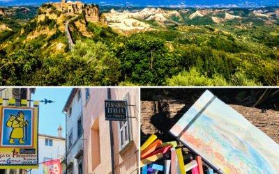 Masterclass online pastelschilderen. Live vanuit Bolsena & Cività di Bagnoregio midden Italië
